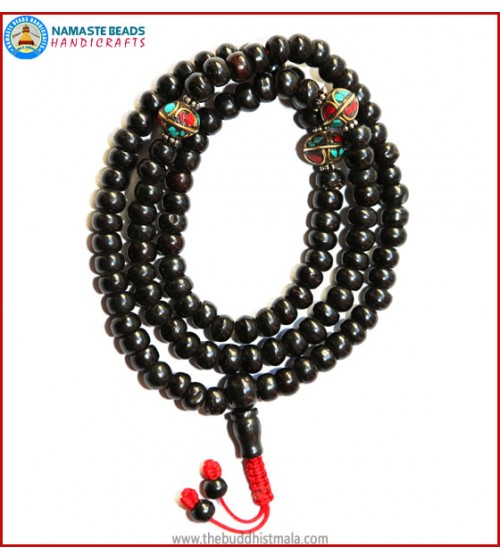 Black Bone Mala with Inlays Metal Beads