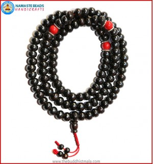 Black Bone Mala with Coral Beads