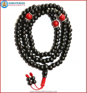 Black Bone Mala with Coral Spacer Beads