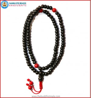 Black Bone Mala with Coral Beads