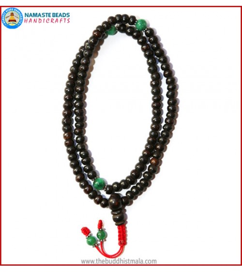 Black Bone Mala with Green Jade Beads