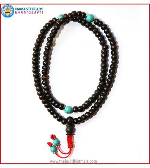 Black Bone Mala with Turquoise Beads