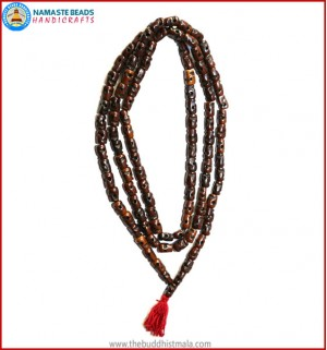 Skull Carved Dark Brown Bone Mala