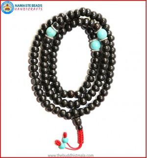 Black Bone Mala with Turquoise Spacer Beads