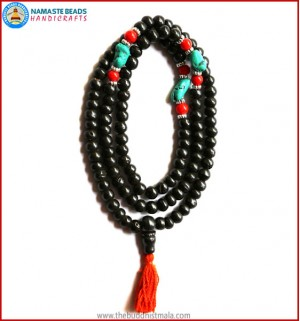 Black Bone Mala with Coral & Turquoise Beads