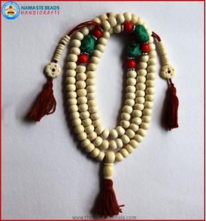 White Bone Mala with Coral & Turquoise Beads