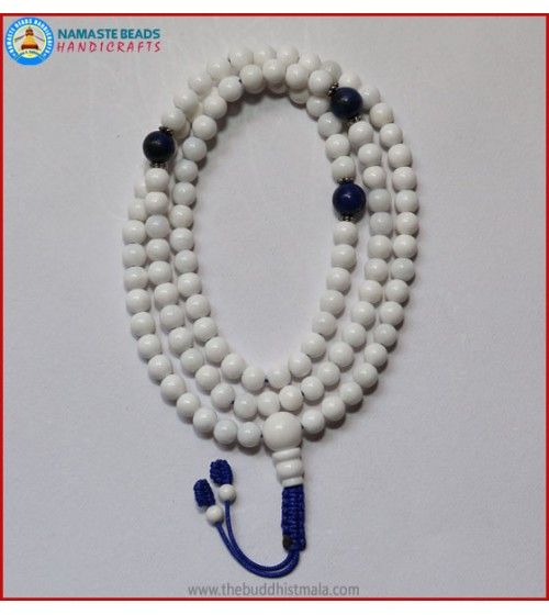 Conch Shell Mala With Lapis Lazuli Spacer Beads