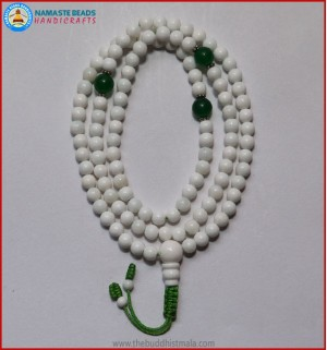 Conch Shell Mala With Jade Spacer Beads