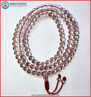 Diamond Cut Crystal Mala In Red String