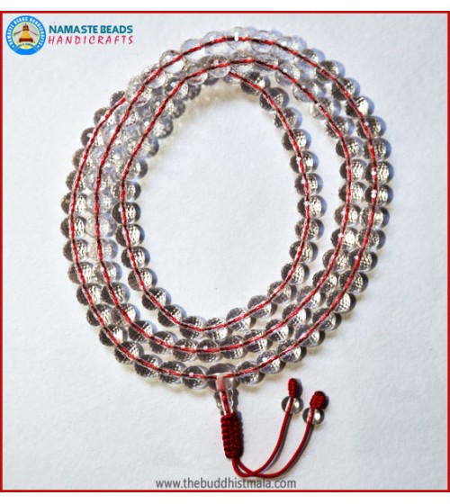 Diamond Cut Crystal Mala In Red String