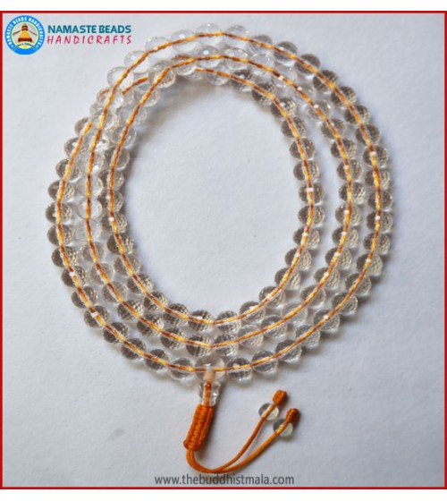 Diamond Cut Crystal Mala In Yellow String