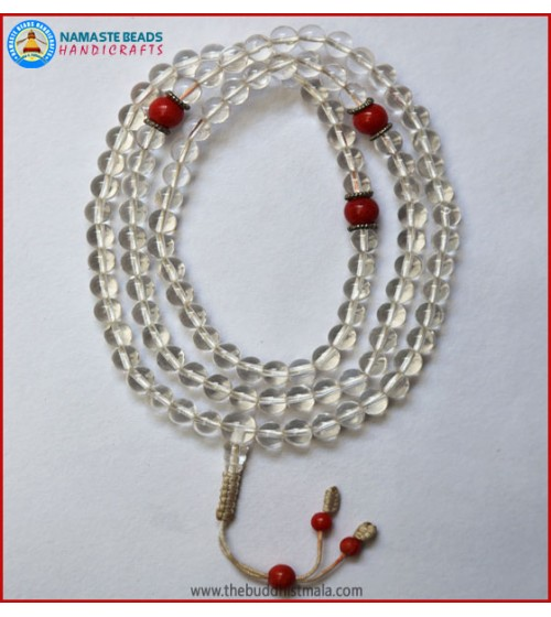 Crystal Mala With Coral Spacer Beads