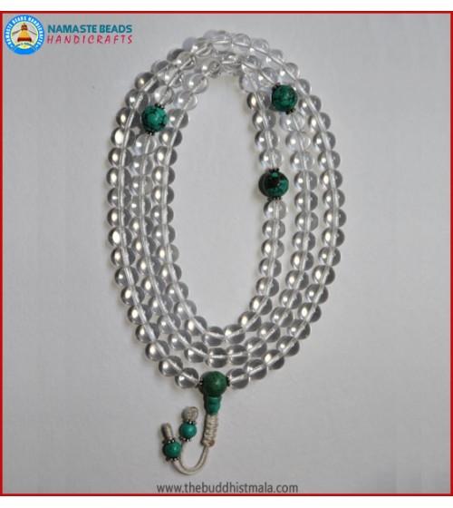 Crystal Mala With Round Turquoise Guru Bead