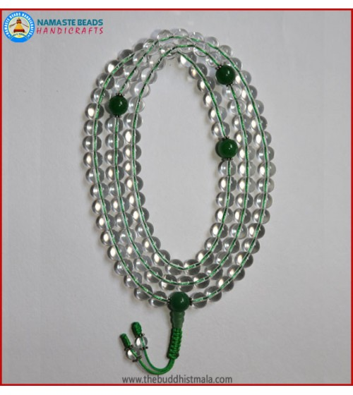 Crystal Mala With Jade Guru Bead
