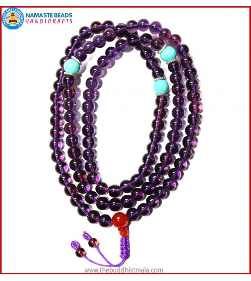 Amethyst Glass Mala with Carnelian Guru Bead