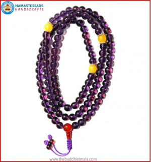 Amethyst Glass Mala with Yellow Jade Beads