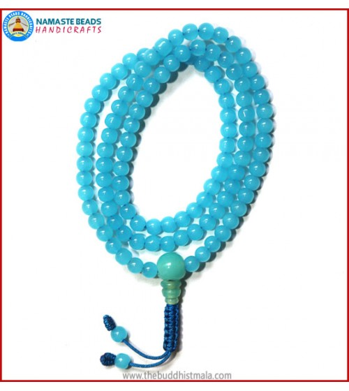 Sky Blue Glass Mala