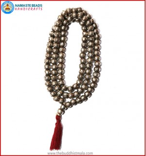 Mantra Carved Light White Metal Mala