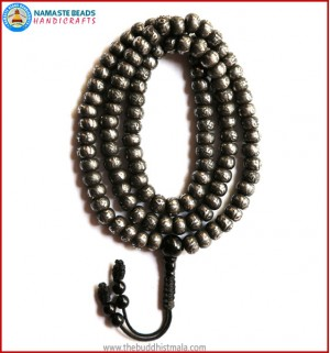 Mantra Carved Flat Iron Mala with Black Onyx Guru Bead
