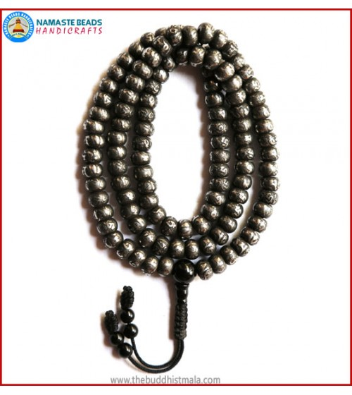 Mantra Carved Flat Iron Mala with Black Onyx Guru Bead