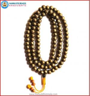 Mantra Carved Heavy Brass Mala