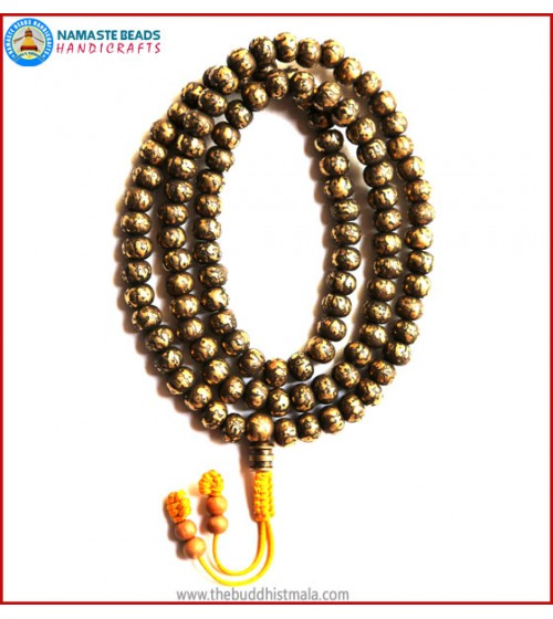 Mantra Carved Heavy Brass Mala