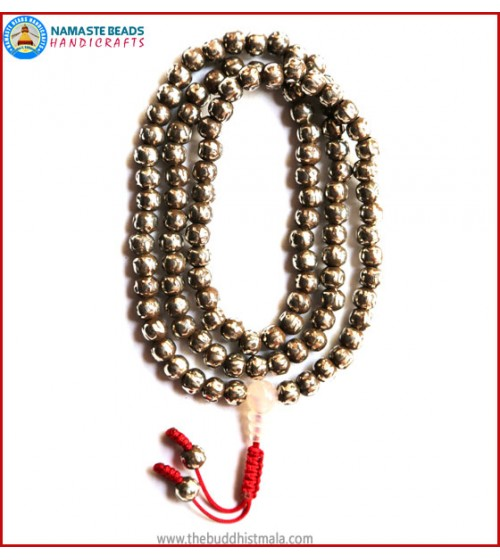 Mantra Carved Light White Metal Mala with Moonstone Guru Bead