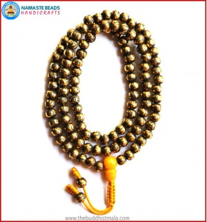 Mantra Carved Light Brass Mala with Amber Guru Bead