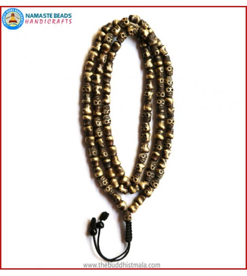 Skull Carved Heavy Brass Mala