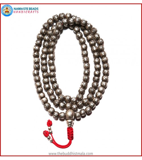 Real Silver Mantra Carved Mala