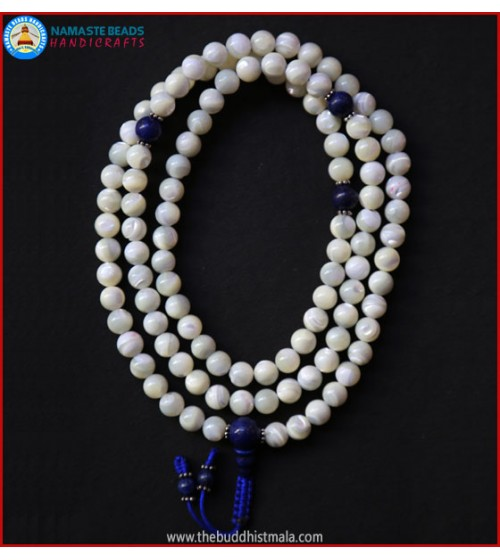 Mother of Pearl Mala with Lapis Lazuli Guru Bead