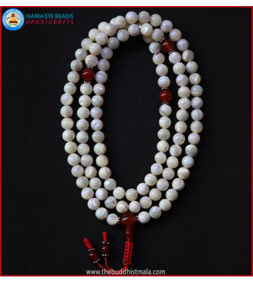 Mother of Pearl Mala with Carnelian Guru Bead
