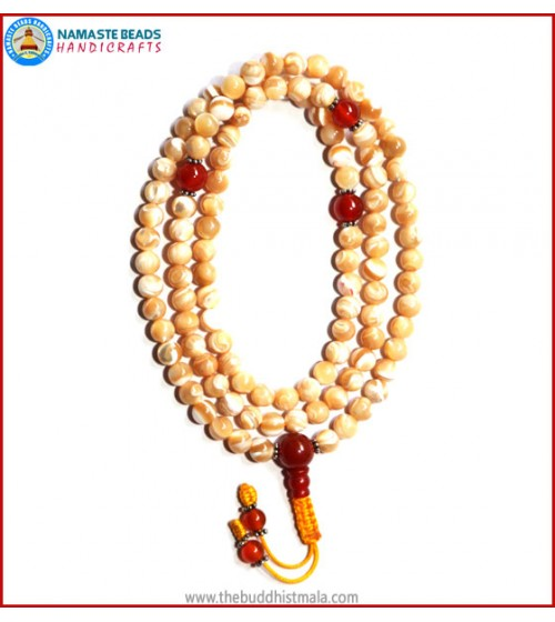 Mother of Pearl Mala with Carnelian Spacer Beads