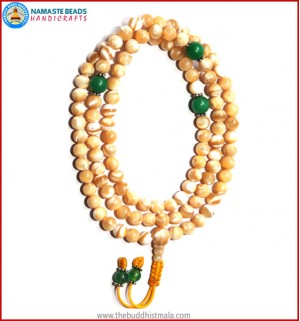 Mother of Pearl Mala with Green Jade Spacer Beads