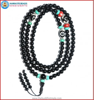 Black Onyx Mala with Dzi Beads