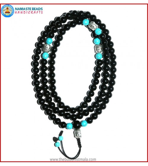 Black Onyx Mala with Buddha Head