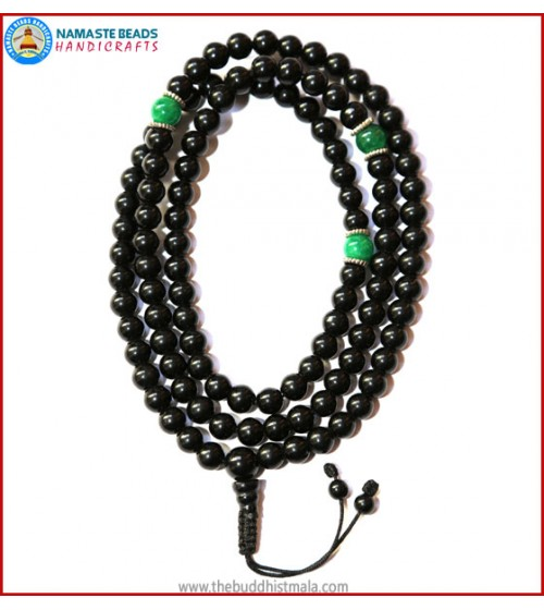 Black Onyx Mala with Green Jade Spacer Beads