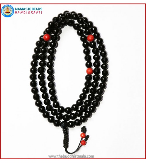 Black Onyx Mala with Coral Spacer Beads