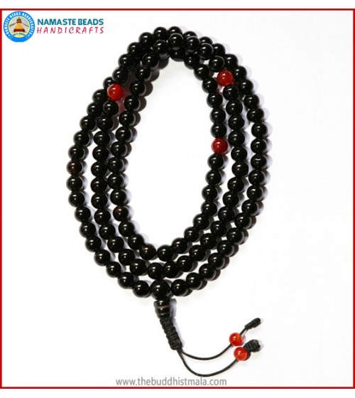 Black Onyx Mala with Carnelian Spacer Beads