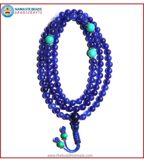 Blue Onyx Mala with Turquoise