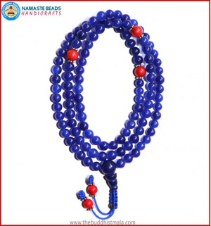 Blue Onyx Mala with Coral