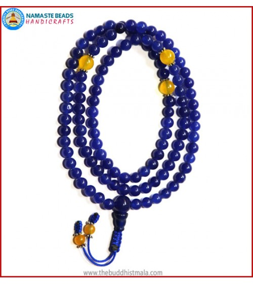 Blue Onyx Mala with Yellow Jade
