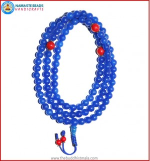 Blue Onyx Mala with Coral Spacer Beads