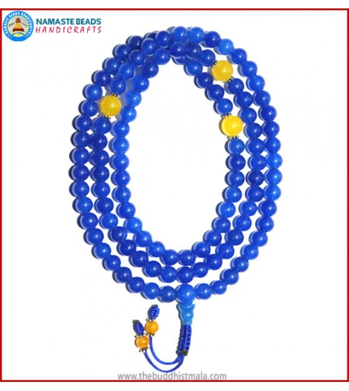 Blue Onyx Mala with Yellow Jade Spacer Beads