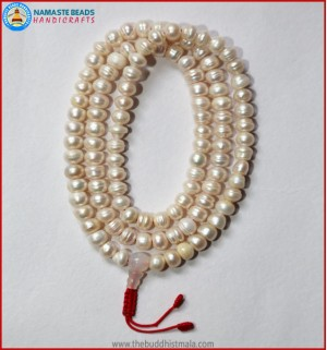 Cultured Pearl Mala with Moon Stone Guru Bead
