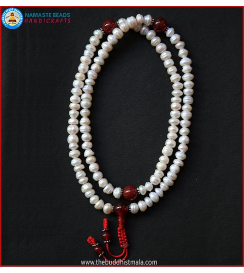 Cultured Pearl Mala with Carnelian Spacer Beads