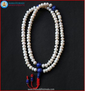 Cultured Pearl Mala with Lapis Lazuli Spacer Beads