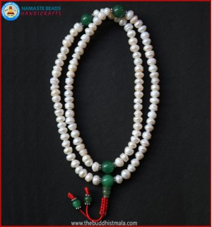 Cultured Pearl Mala with green Jade Spacer Bead