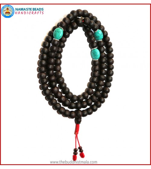 Best Quality Bodhi Seed Mala with Real Turquoise Spacer Beads