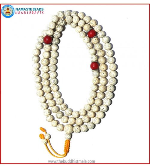 Lotus Seed Mala with Coral Spacer Beads